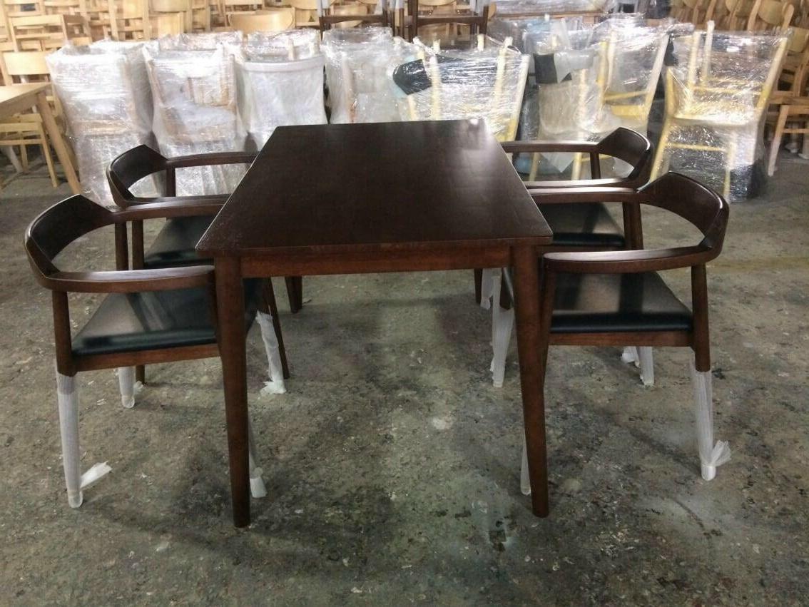 Bộ bàn ăn ghế hiroshima màu nâu