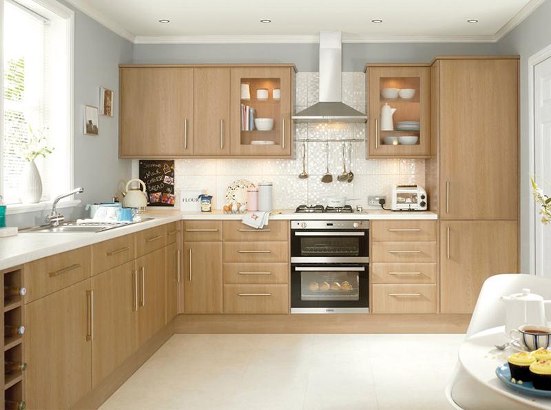 Tủ bếp màu gỗ tự nhiên