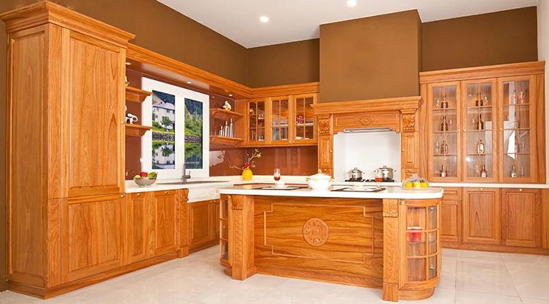 Tủ bếp gõ đỏ cổ điển